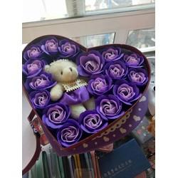 Hoa sáp trái tim tặng 1 gấu