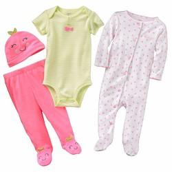 Bộ quần áo nón sơ sinh bé gái Carter Cherry Sleep Play Size 6 tháng