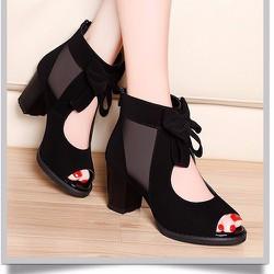 Giày gót vuông cổ cao đính nơ - LN1071