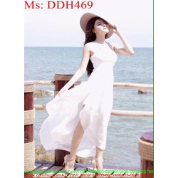 Đầm maxi trắng 2 dây sành điệu và xinh đẹp DDH469