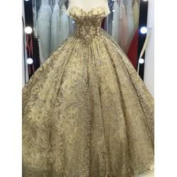 áo cưới da kim tuyến tay ngang tùng sáng lấp lánh