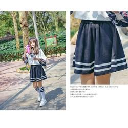 Chân váy lưng thun thủy thủ phong cách nữ sinh Nhật Bản vải dày đẹp