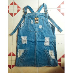 Yếm váy jean rách