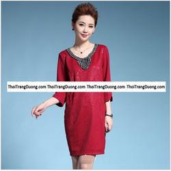 Đầm suông cổ đính cườm thời trang trung niên cao cấp 2017 - MG001-1