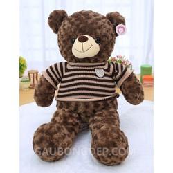 Gấu Teddy 2m áo len sọc Choco lông xoăn