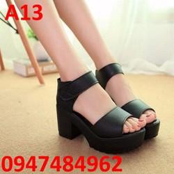 Giày sandal đế cao 5cm chất liệu da Hàn Quốc A13