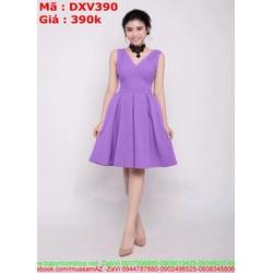 Đầm xòe xẻ cổ V sát nách xinh đẹp duyên dáng DXV390