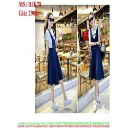 Váy jean xòe dạng yếm xinh đẹp và thời trang DJE78