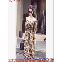 Đầm xòe bẹt vai dài tay họa tiết beo sành điệu thời trang DXV282