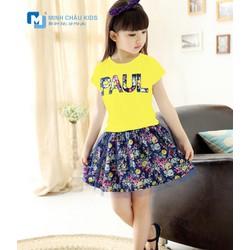 Bộ Áo Váy Hoa Bé Gái Màu Vàng