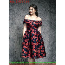 Đầm xòe dự tiệc bẹt vai họa tiết hoa nổi bật sang trọng DXV319