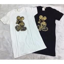 Đầm thun suông họa tiết Mickey