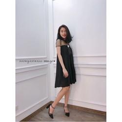 Đầm suông dập li phối lứoi _MỎ CHU SHOP