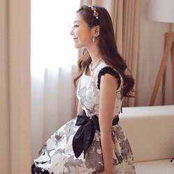 HÀNG NHẬP – Đầm voan hoa kèm đai thắt DU11838