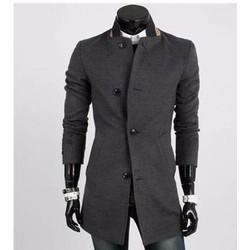 áo khoác măng tô cổ trụ Mã: NK0756 - XÁM ĐẬM