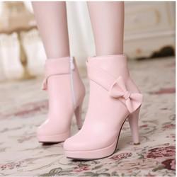 Giày boot nữ đính nơ cực dễ thương màu hồng GBN4401