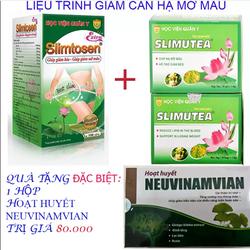 Liệu trình giảm béo 1 slimtosen extra +2 slimutea tặng 1hoạt huyết