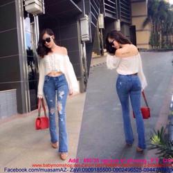 Áo bẹt vai nữ dài tay phối ren màu trắng trẻ trung ABV10