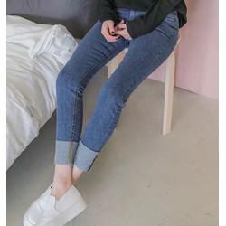 Quần jeans dài co dãn rách lai