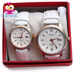 Đồng hồ cặp dây da trắng