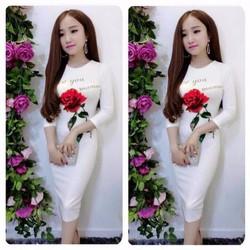 Đầm ôm họa tiết hoa hồng
