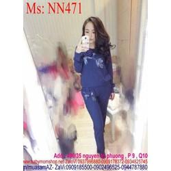 Đồ bộ mặc nhà dài tay hình hoa hồng xinh đẹp NN471