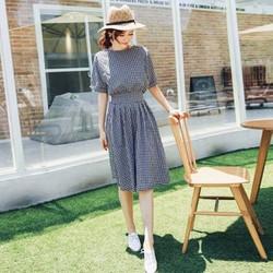 D354 Đầm Xòe Vintage Caro Nhí Dễ Thương
