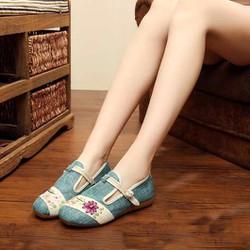 Giày búp bê vải thêu hoa mềm mại nữ tính
