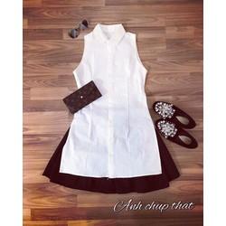 Set váy xếp li áo sơmi xẻ _MỎ CHU SHOP