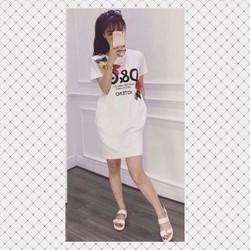 Đầm suông thêu hàng qc trắng - A29179