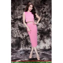 Sét áo croptop sát nách và chân váy bút chì xinh đẹp Ngọc trinh SEV12