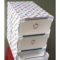 Bộ 3 hộp nhựa tháo ráp thành tủ 3 ngăn kéo, hoa văn LV. S18-1