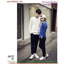 Sơ mi cặp đôi cổ phối màu sành điệu quà tặng yêu thương SMD161