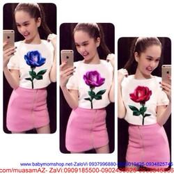 Sét áo croptop họa tiết hoa hồng xinh và váy ôm đẹp SEV60