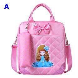 Túi xách đi học búp bê chibi kèm túi dụng cụ học tập