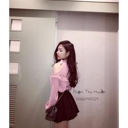 Set váy xoè áo yếm khoét vai _MỎ CHU SHOP