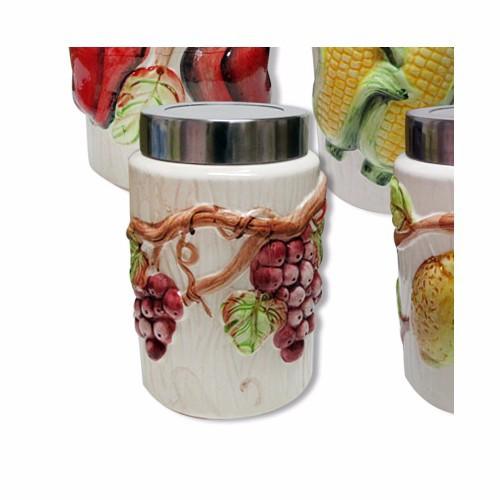 Hũ gốm đựng thực phẩm cao 19cm, ốp nổi hình trái cây, nắp nhựa trong - 4180666 , 5067860 , 15_5067860 , 50000 , Hu-gom-dung-thuc-pham-cao-19cm-op-noi-hinh-trai-cay-nap-nhua-trong-15_5067860 , sendo.vn , Hũ gốm đựng thực phẩm cao 19cm, ốp nổi hình trái cây, nắp nhựa trong