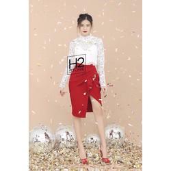 Set Áo Ren + Chân Váy Đỏ