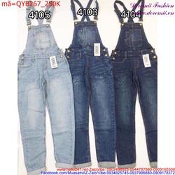 Quần yếm Jean dài trơn wash thời trang trẻ trung sành điệu QYB267