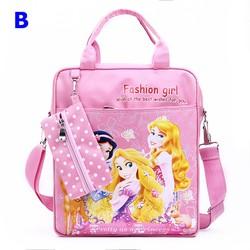 Túi xách đi học công chúa dể thương kèm túi dụng cụ học tập