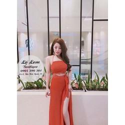 Set váy maxi áo yếm viền ren _MỎ CHU SHOP