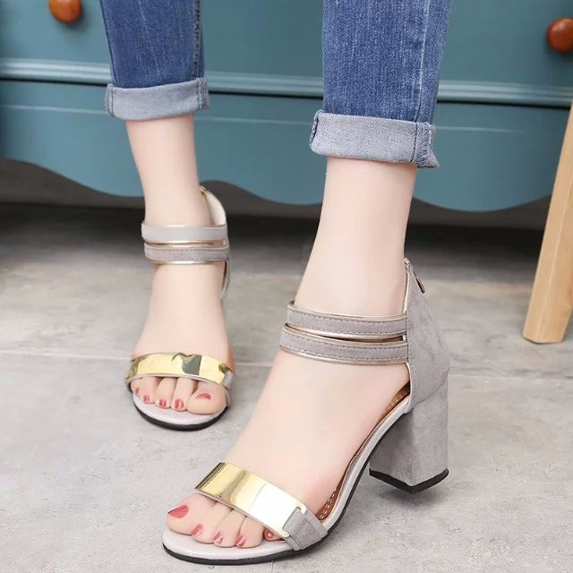 Sandal nữ 7cm đế vuông quai ngang phong cách Hàn Quốc 6