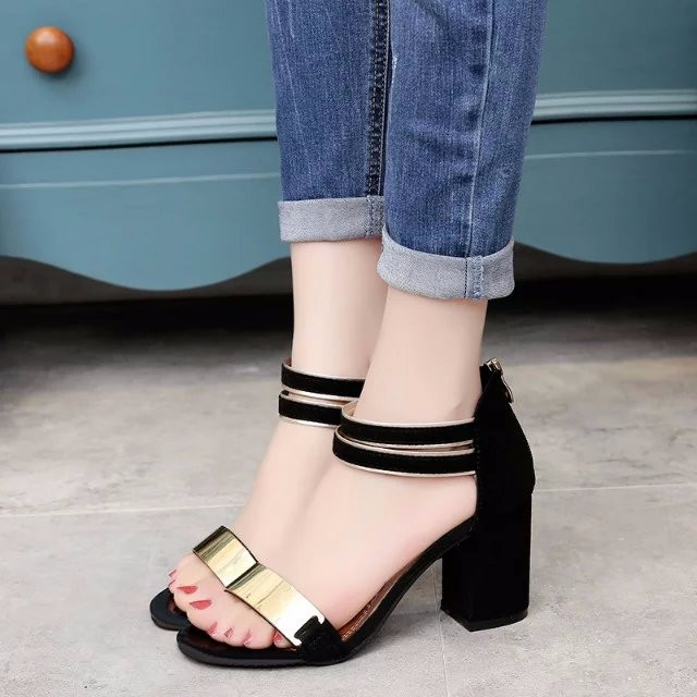 Sandal nữ 7cm đế vuông quai ngang phong cách Hàn Quốc 9