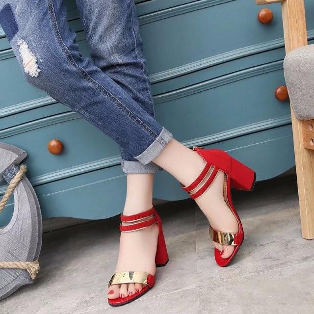 Sandal nữ 7cm đế vuông quai ngang phong cách Hàn Quốc 1