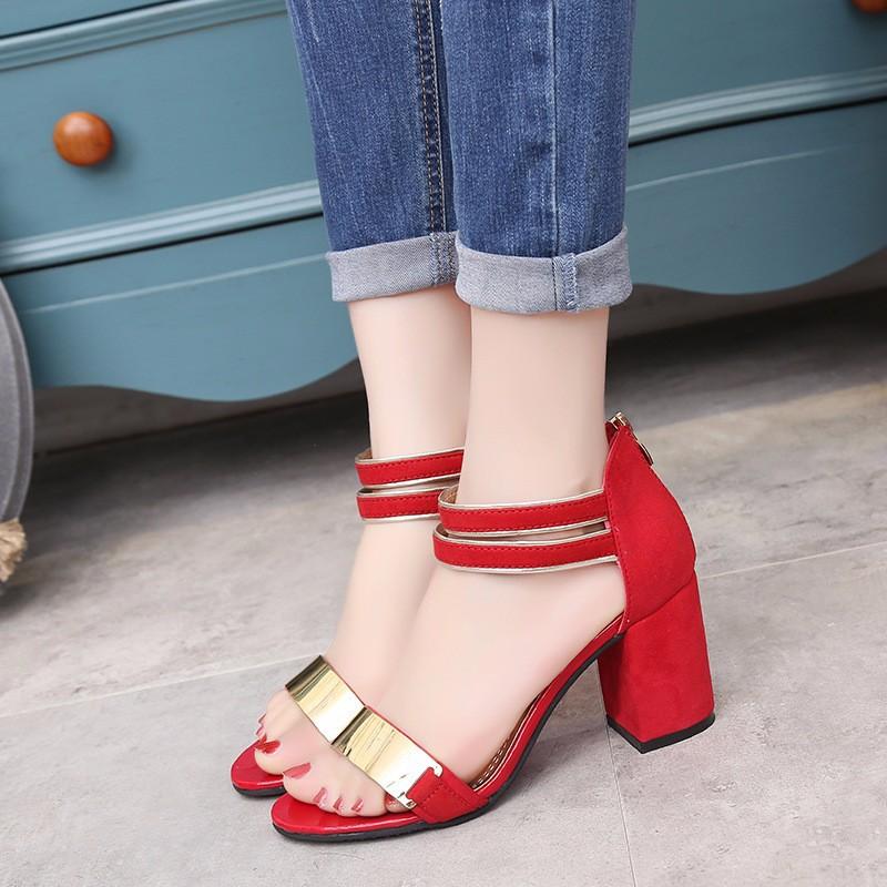 Sandal nữ 7cm đế vuông quai ngang phong cách Hàn Quốc 3