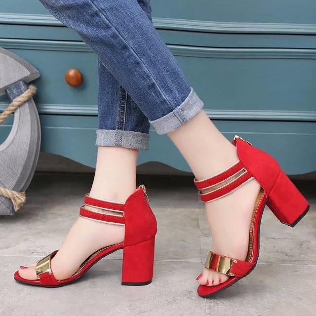 Sandal nữ 7cm đế vuông quai ngang phong cách Hàn Quốc 2