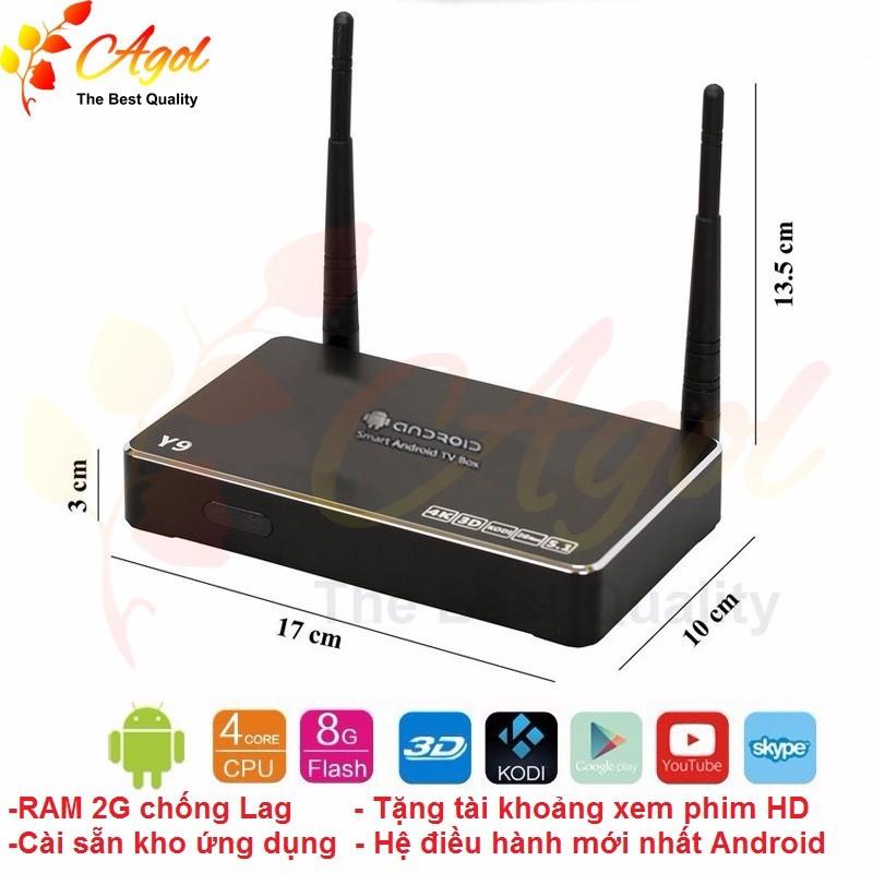Tivi box Android Y9 Đen bóng RAM 2G hệ điều hành mới tặng chuột wifi 2