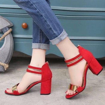 Sandal nữ 7cm đế vuông quai ngang phong cách Hàn Quốc