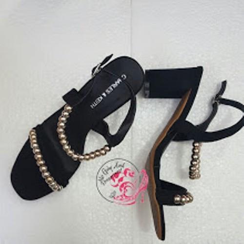 Chỉ còn size 37 - Giày Sandal đính hạt gót 7cm