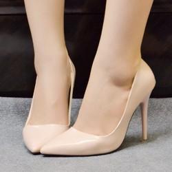 Giày cao gót bít mũi nhọn đế đỏ 10p màu nude-GX423